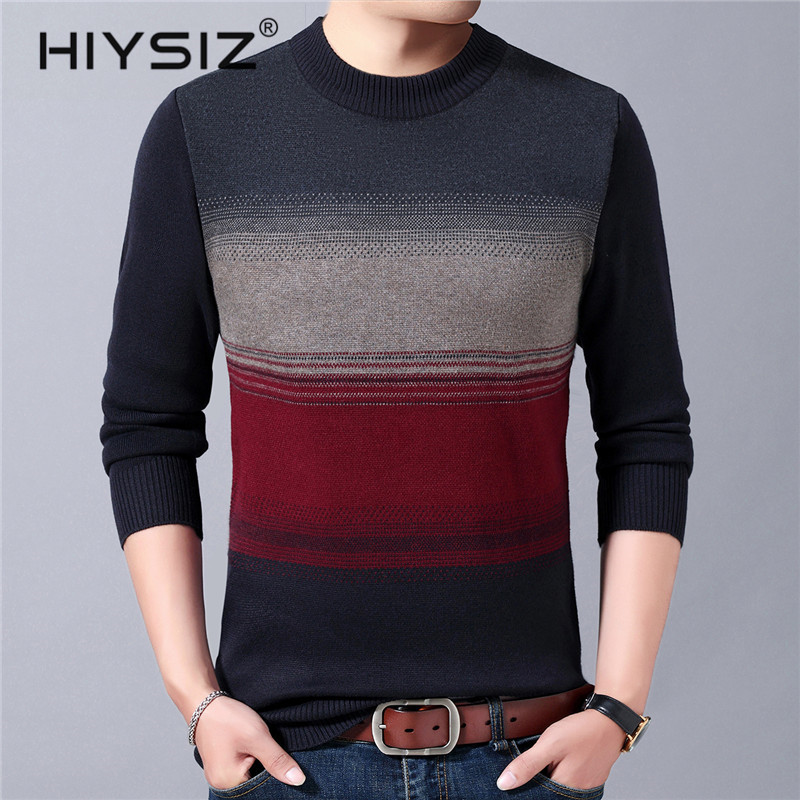 HIYSIZ Brand Fashion 2019 Winter Autumn Streetwear Knitted Sweater Men O-Neck Pull Homme Casual Men Tops Stripe Clothes H3013
