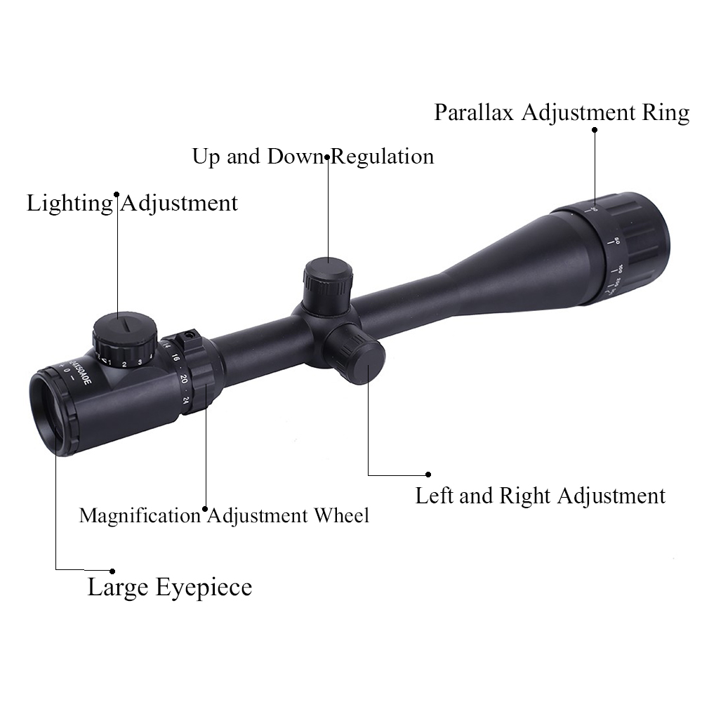 Riflescope Illuminated Optical-Sight 6-24x50 aoe Tactical Crosshair Green Red
