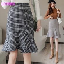 2019 woolen irregular long autumn and winter new fashion fishtail skirt Knee-Length  Asymmetrical Plaid