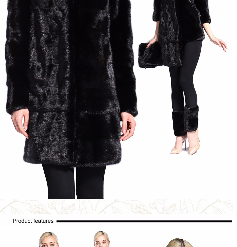 Real Fur Coat Mink Women Winter Natural Fur Mink Coats And Jackets Female Long Warm Vintage Women Clothes 2019 Plus Size 6XL 7XL 74