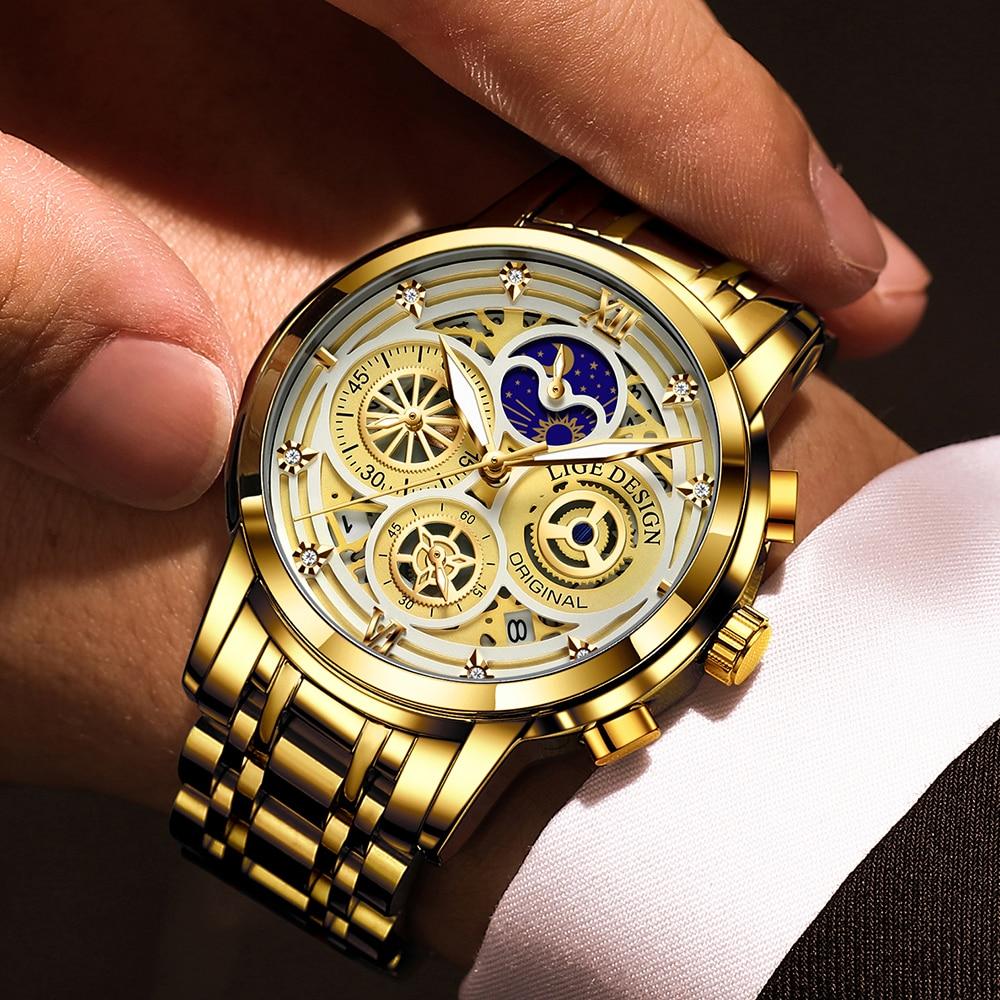 2021 Nieuwe Luik Sport Mannen Horloge Top Brand Luxe Goud Roestvrij Staal Quartz Wrsit Horloge Mannen Mode Holle Waterdicht Chronograaf 5