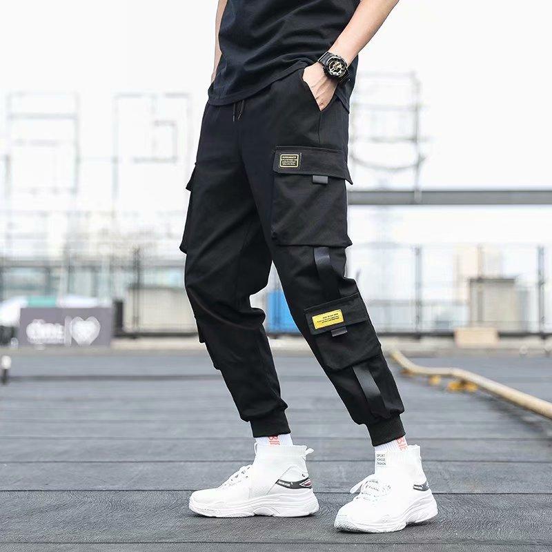 Bolsos laterais dos homens carga harem calças 2021 fitas preto hip hop casual masculino joggers calças moda casual streetwear calças 2