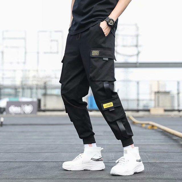 Pantalones Cargo de harén con bolsillos laterales para hombre, pantalón negro de Hip-Hop, informal, a la moda, ropa de calle, 2020 cintas 2
