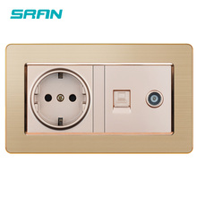 SRAN enchufe de pared estándar de la UE + conector hembra de TV con Red, datos de ordenador, RJ45 CAT5E, combinación de Panel de acero inoxidable para el hogar