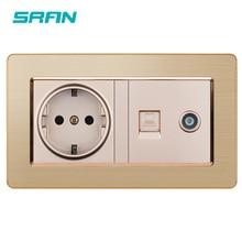 SRAN איחוד אירופי תקן שקע + טלוויזיה נקבה שקע עם רשת מחשב נתונים RJ45 CAT5E נירוסטה פנל בית שילוב