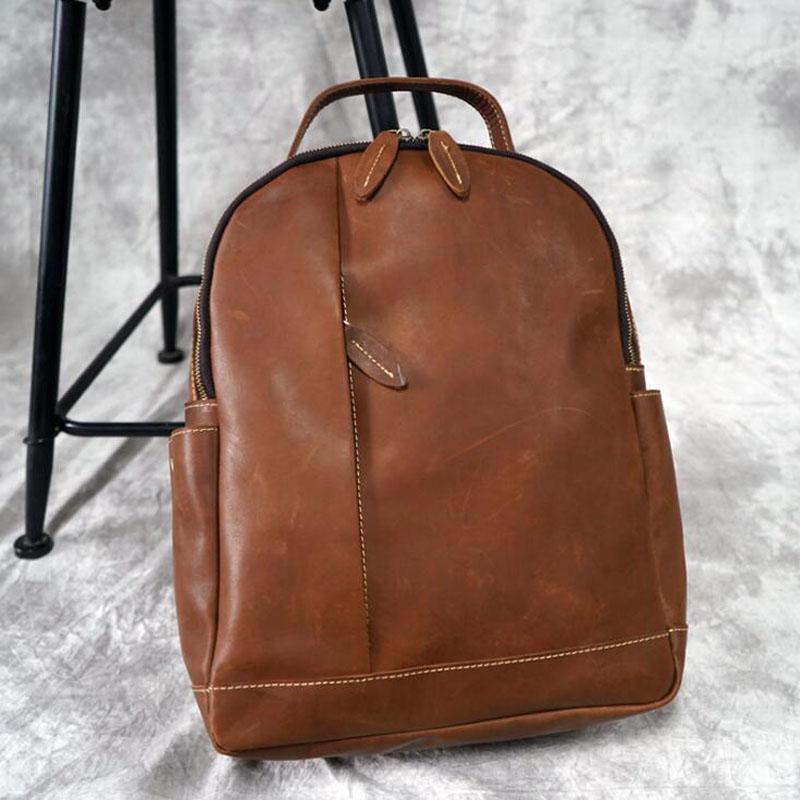 Women or Man Backpacks Top Quality Genuine Leather Laptop Backpacks Vintage Teenage Style Casual Shoulder Bag Travel Daypack