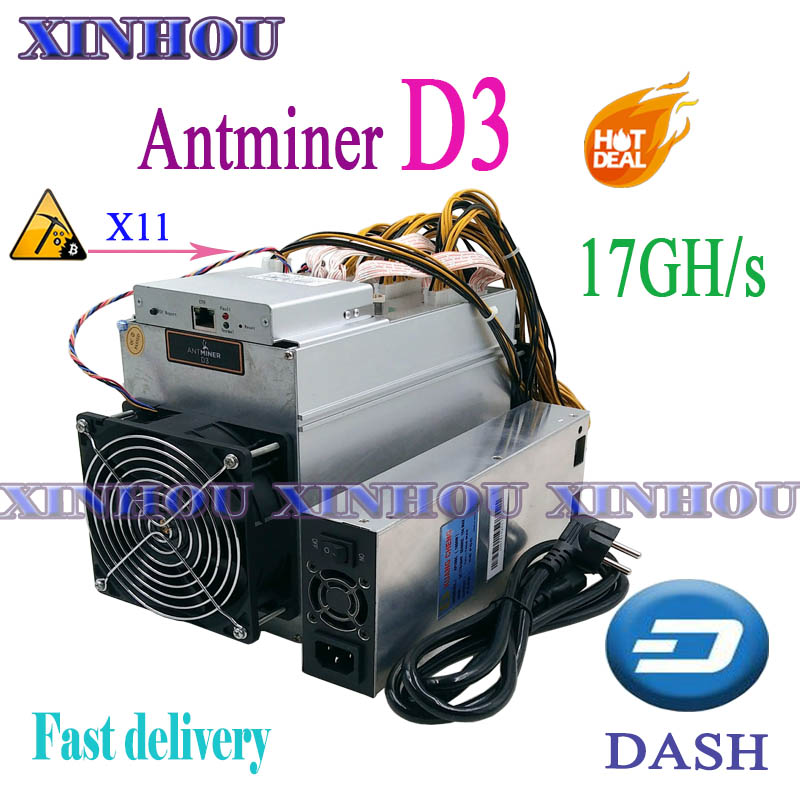 US $376.0 |DASH miner Bitmain ANTMINER D3 17GHs X11 Asic mining machine can miner BTC on nicehash More economical than D5 S9 l3 in Network Switches
