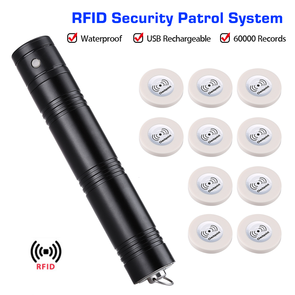 Anti-broken Guard Tour System Wand Rfid Security Patrolling System Patrol Recorder + 10pcs RFID Checkpoint