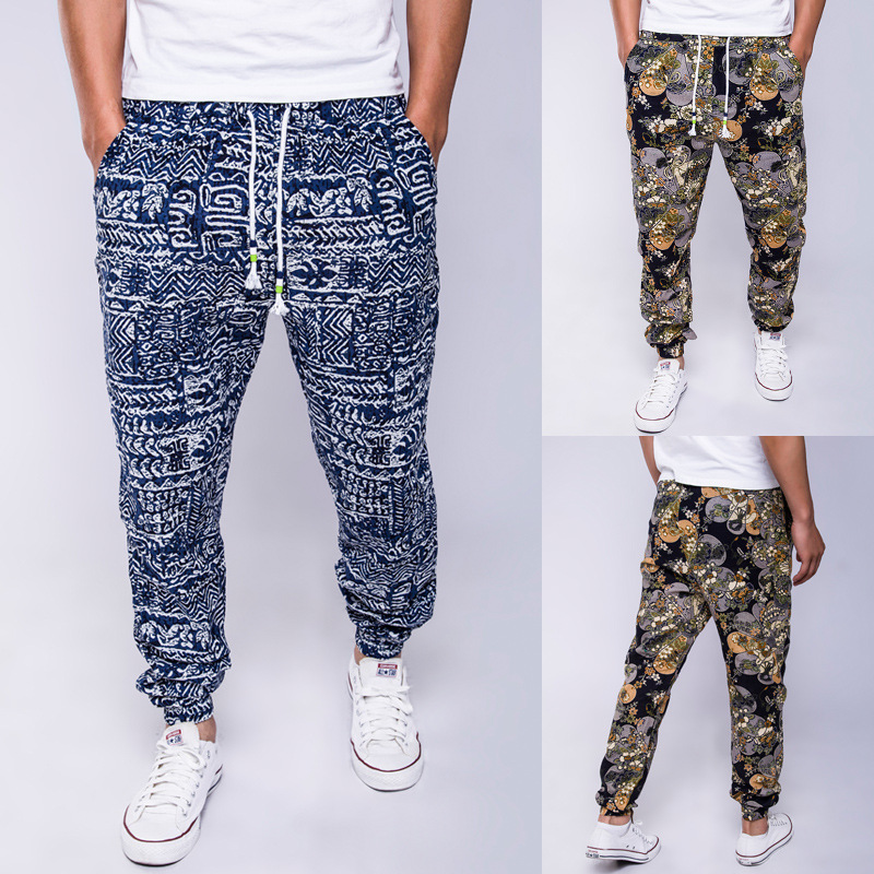 2019 Autumn And Winter New Style Cool National Style Printed Cotton Linen Casual Pants Men String Casual Trousers