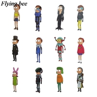 34 Flyingbee 34 pcs Rick and morty Skateboard graffiti waterproof sticker Scrapbooking Sticker for Phone Luggage Decals X0710 (3)