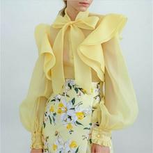 Women Lady Mesh Sheer Long Puff Sleeve Tops Bowknot Blouse Ruffled Buttons
