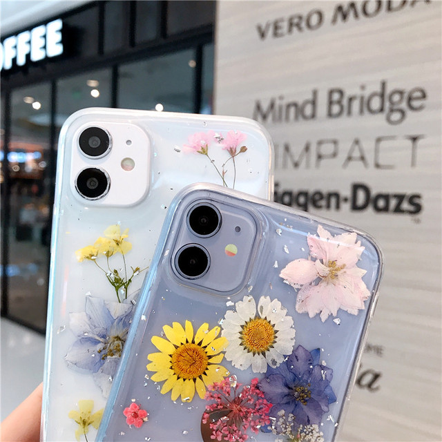 White Daisy Yellow Pressed Flowers Clear Dried Real Natural Floral Case For iPhone 12 11 Pro Max 12 11 Pro 11 12 Mini Xs Max XR X 7P 8P