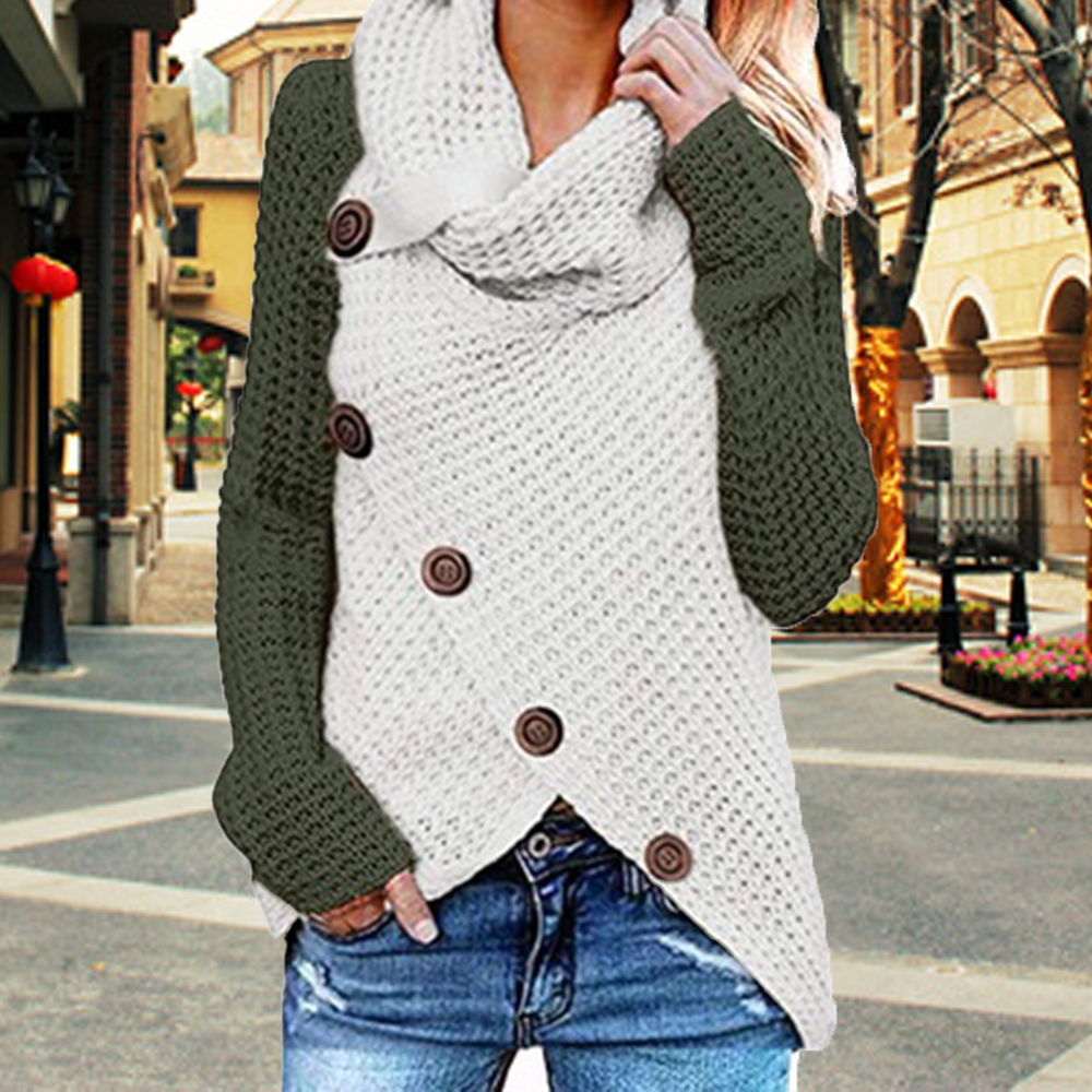 Puimentiua Fashion Women Patchwork Knitted Sweater Warm Winter Casual Jumpers Pull Femme Buttons Irregular Sweter Mujer Clothes