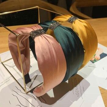Корейские граненые Стразы ободок с бантом для женщин однотонный Атлас Hairband женский бутик аксессуаров для волос ободок обруч для волос