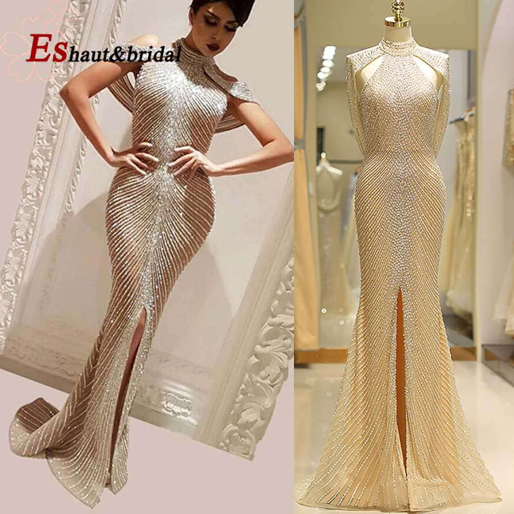 Generous Front Split Gold Evening Dress For Women 2019 Long Sexy Luxury Dubai Arabic Crystal Mermaid High Neck Formal Party Gown