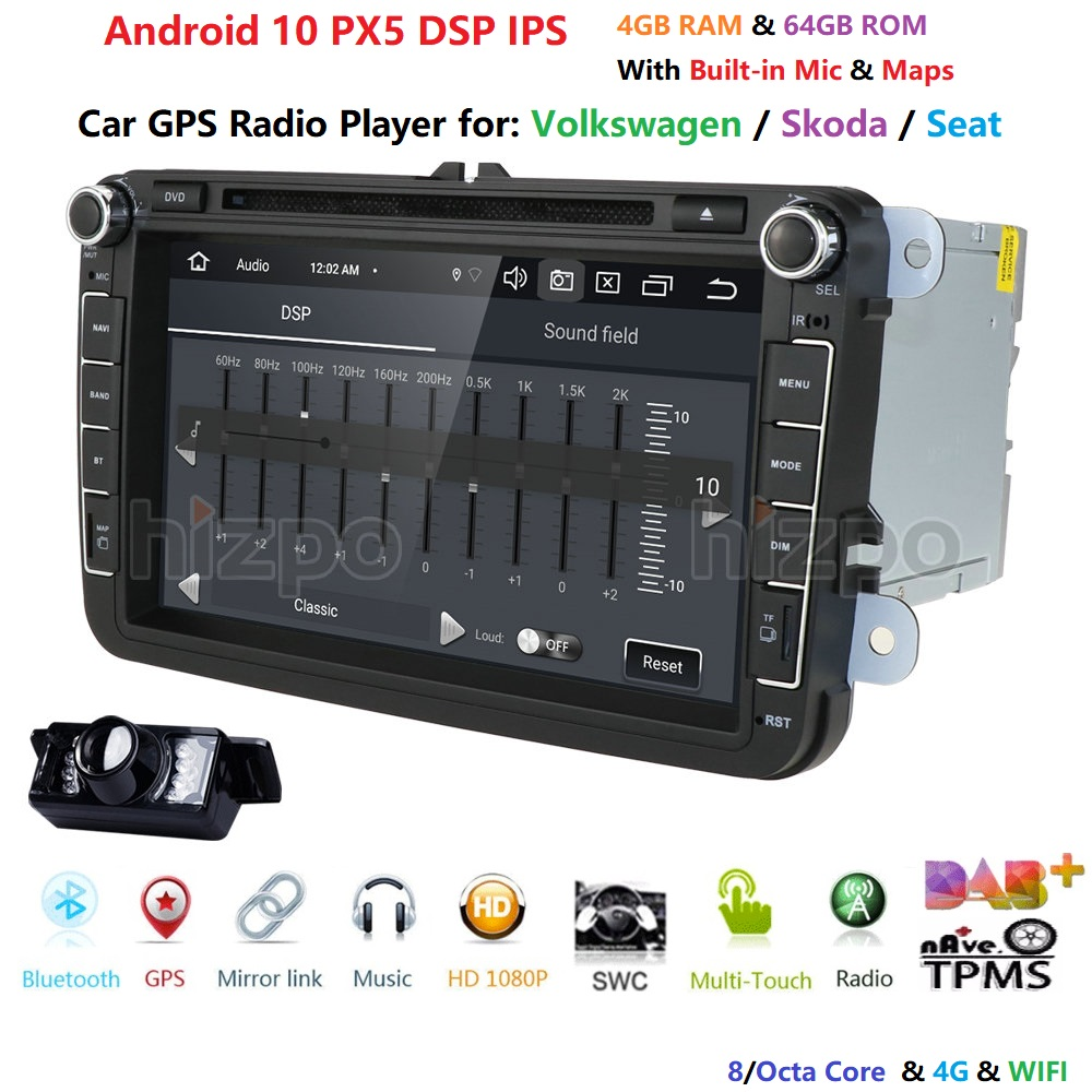 4G+64G Android 10 8/Octa-Core 2DIN <font><b>CAR</b></font> DVD PLAYER For <font><b>Seat</b></font> <font><b>Altea</b></font> <font><b>Leon</b></font> Toledo VW Passat POLO golf 5 6 touran passat Radio stereo image