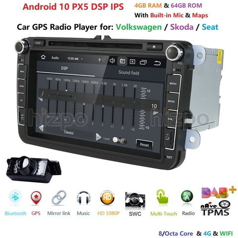 4g g android 10 64 8 octa core 2din dvd player do carro para seat
