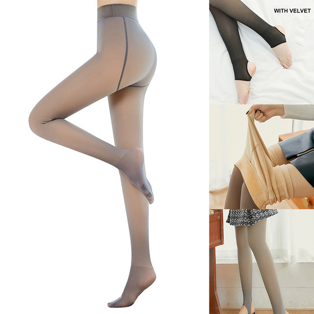 Leggings Women 2020 High Quality Legs Fake Translucent Warm Fleece Slim Stretchy For Winter Outdoor Women Ropa Mujer 2