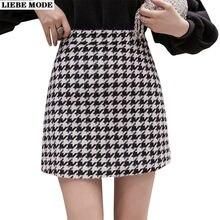 Клетчатая короткая юбка трапеция в Корейском стиле Женская мини