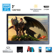 7 inch mini portable monitor IPS HD LCD screen HDMI display for laptop PS4 Xbox gaming monitor travel movie 600cd/m outdoor factory quality ips lcd display 7 85 for supra m847g internal lcd screen monitor panel 1024x768 replacement