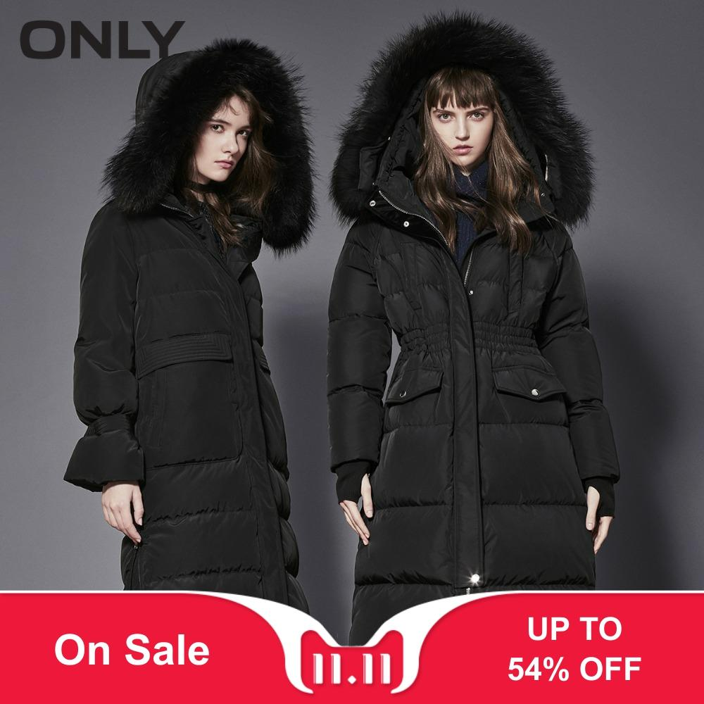 ONLY Women's Raccoon Fur Collar Big Pocket Down Jacket|118312543