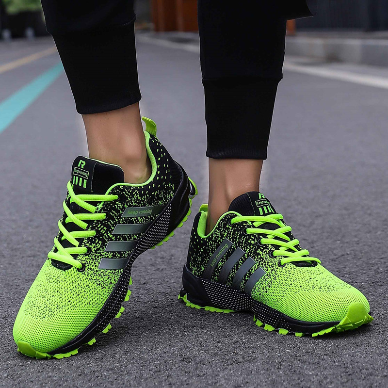 Image 3 - Big Size Green Breathable Cheap Running Shoes Men Flyknit Red Outdoor Marathon Sneakers Lightweight Keep Running Men Sport ShoesRunning Shoes   -