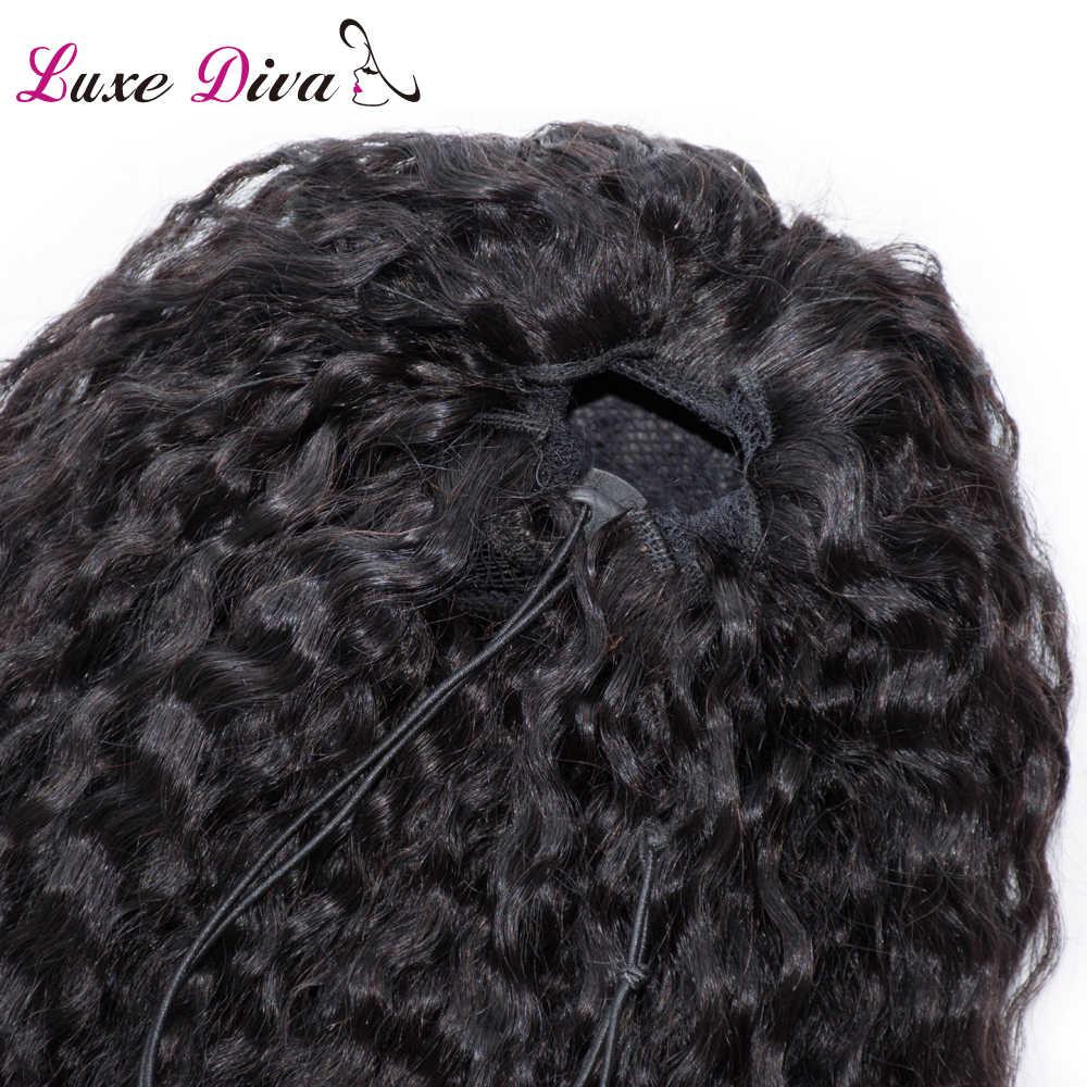 Женский хвостик кудрявые вьющиеся человеческие волосы 2 клипса для наращивания на шнурке эластичная лента Натуральные Цветные волосы для черных женщин remy волосы
