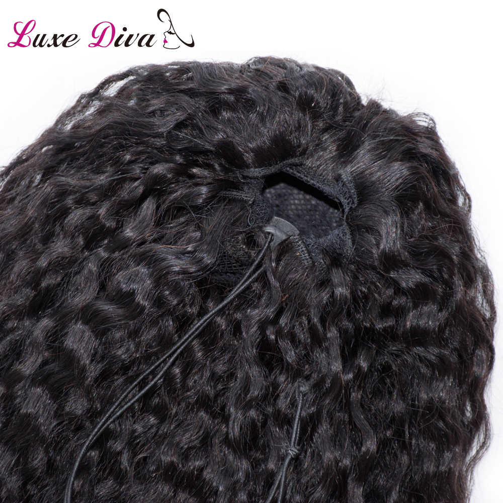 Mujeres Cola de Caballo pelo humano rizado 2 clip en extensiones cordón elástico pelo de Color Natural para mujeres negras Remy pelo