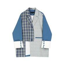 IMucci Irregular dividido conjunto Plaid abrigo suelto 2020 nuevo primavera manga larga cuello vuelto mujeres moda chaquetas Tide TM1200