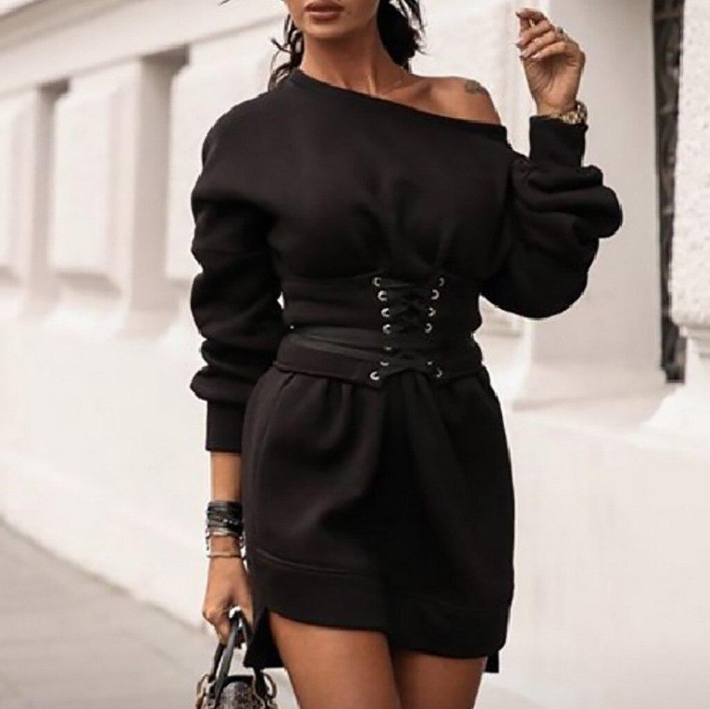 Hot sale Women's Black Dress Solid O-neck Long Sleeve Fleece Thick Dress+waistband Belt Bandage Womens Dresses New Arrival 2020