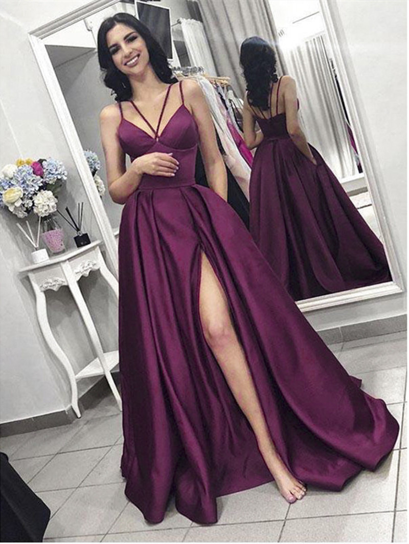 Sexy Burgundy Evening Dresses 2020 A Line V Neck Sleeveless Special Occasion Party Prom Girl Dresses Evening Gowns