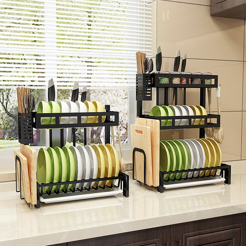 Stainless Steel Kitchen Rack / Dish Drain Rack / Double Bowl Knife Anvil Chopsticks Dish Tabletop Tableware Storage Rack