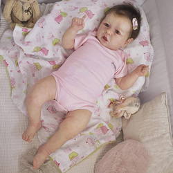 22 Inches Saskia Series Cute Realistic Nola Silicone Reborn Baby Doll Costume Accessories Set Girls's Bestmate (Cloth is Random)