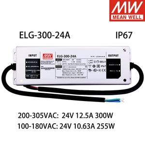MEAN WELL ELG-300-24A 220VAC к DC 24V 12A 300W 110VAC к DC 10.63A 255W 24V одиночный выход импульсный источник питания для светодиодный светильник