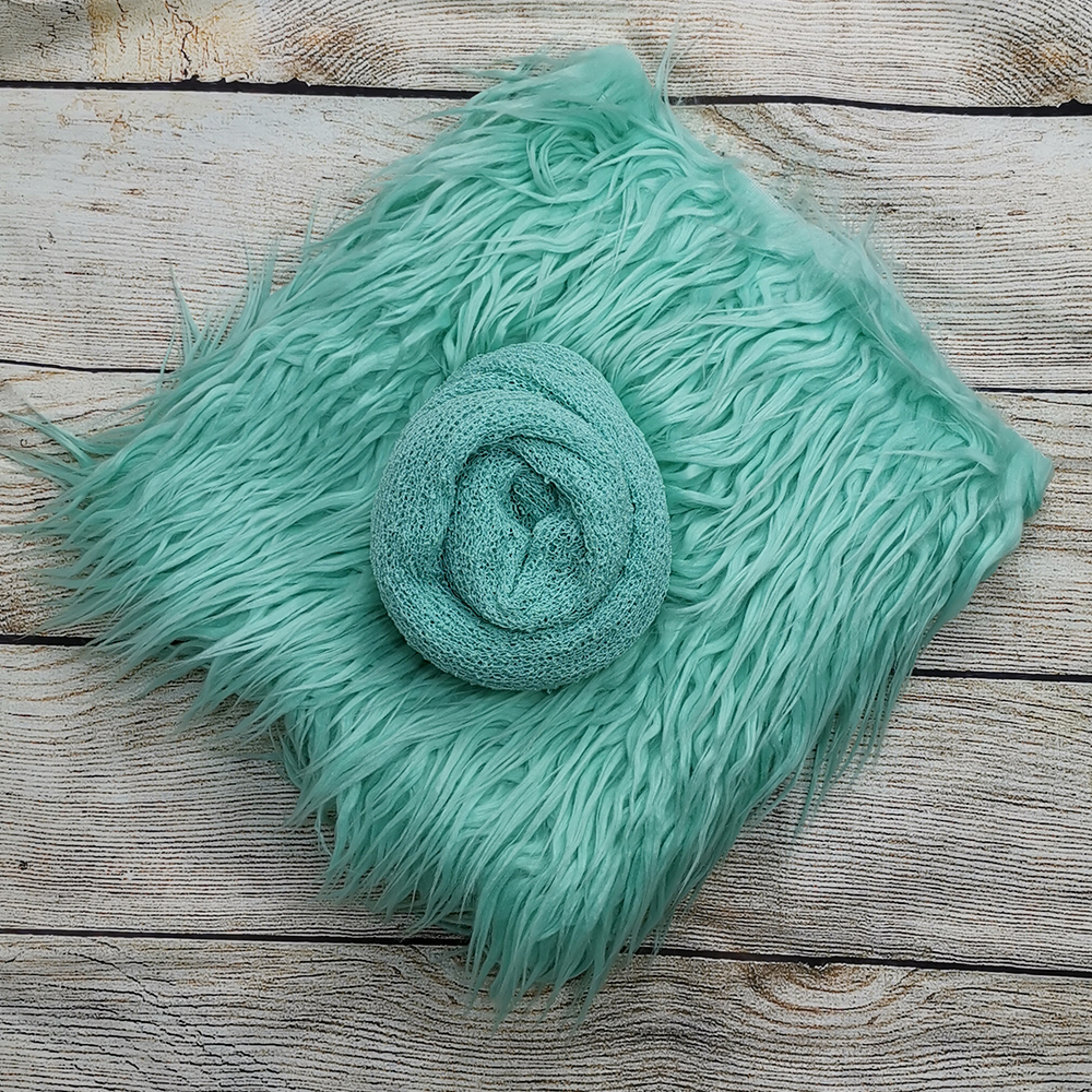 Clearance 75*50 Cm Mongolia Faux Fur Blanket+140*30cm Stretch Knit Wrap For Newborn Photography Props
