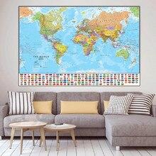 150X100Cm De Wereld Politieke Kaart Opvouwbare Non-Geur Wereld Kaart Canvas Schilderij Met Vlaggen Voor Cultuur reizen Schilderen Poster