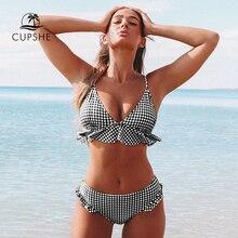 CUPSHE czarno biały bawełniany materiał w kratkę potargane zestawy Bikini kobiety Sexy dwa kawałki stroje kąpielowe 2020 dziewczyna plaża kostiumy kąpielowe stroje kąpielowe