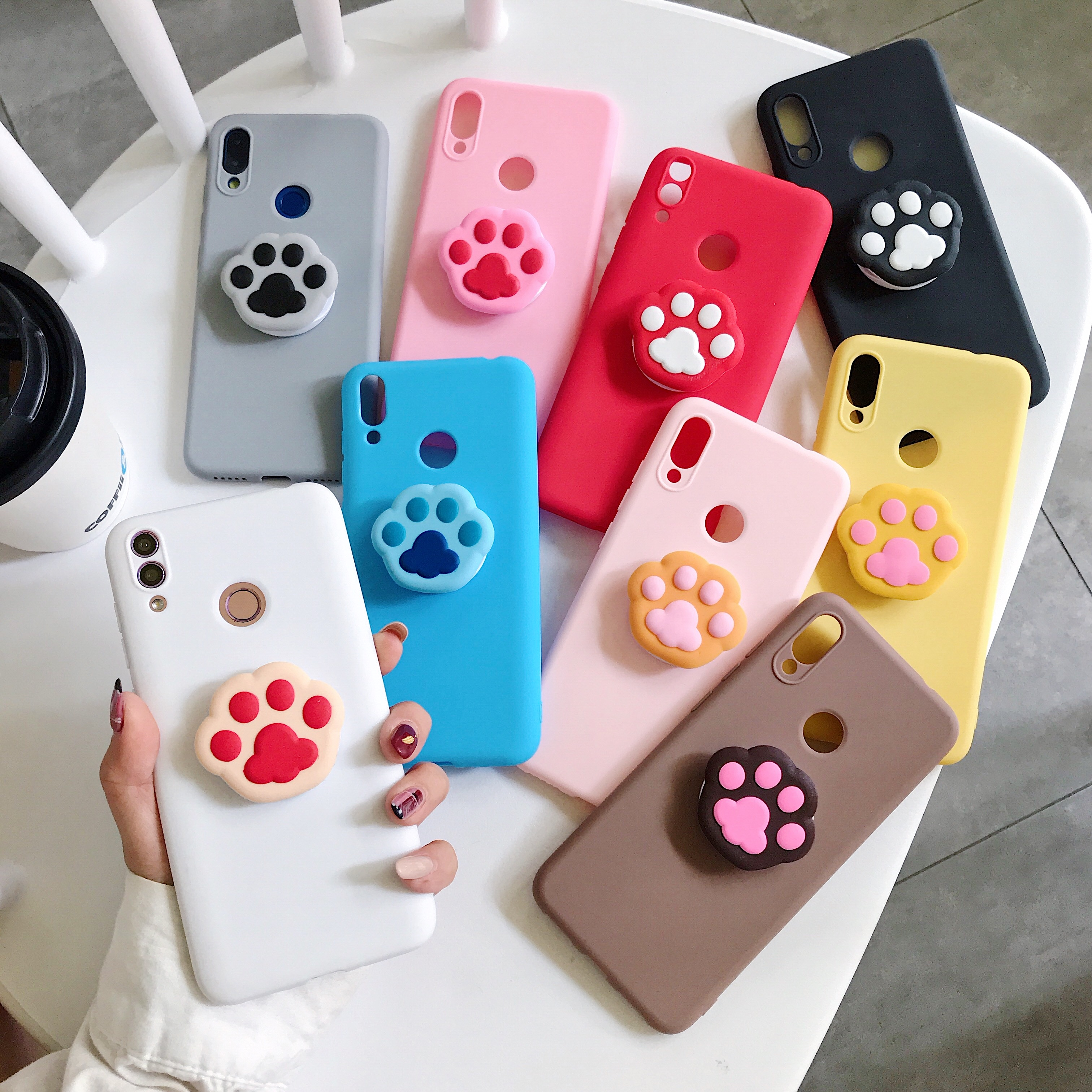 Cute 3D Paw Print Holder Silicone Soft Phone <font><b>Case</b></font> For Huawei <font><b>honor</b></font> 6X 7X <font><b>8X</b></font> <font><b>Max</b></font> 8 Lite 8C 20 20Pro 20Lite Pro Cover Shell image