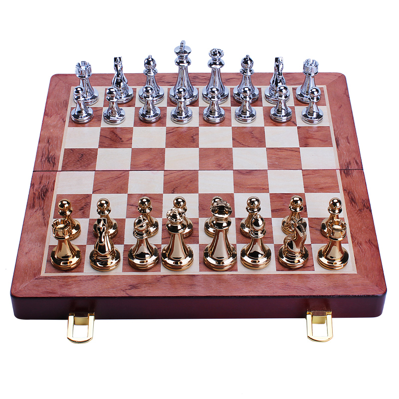 Metal Glossy Golden & Silver Bronze Chess Pieces Solid Wooden Folding Chess Board High Quality Professional Chess Games Set 30cm