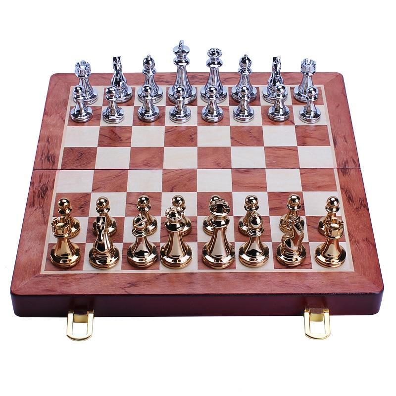 Peças de Xadrez de Madeira Tabuleiro de Xadrez Jogos de Xadrez Metal Brilhante Ouro Prata Bronze Sólida Dobrável Alta Qualidade Profissional Conjunto 30cm &