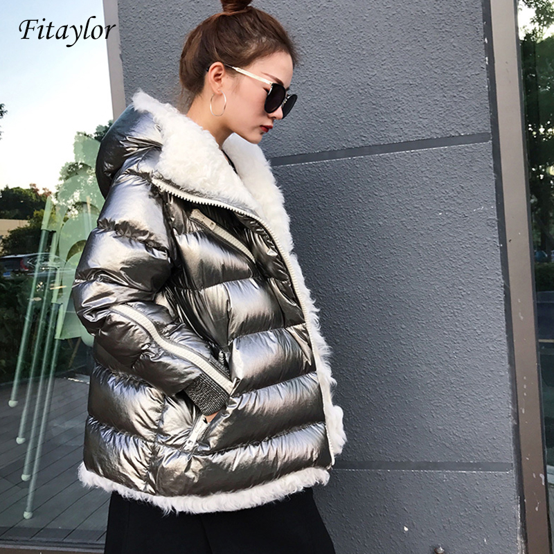 Fitaylor Winter Women White Duck Down Parka Lamb Fur Hooded Coat Female Warm Patchwork Overcoat Silver Outwear