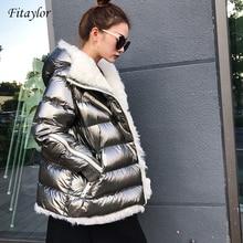 Fitaylor Winter Women White Duck Down Parka Lamb Fur Hooded Coat