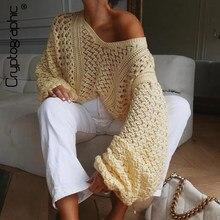 Kryptograficzna jesienno-zimowa seksowna dekolt w serek swetry damskie Hollow Out sweter z rękawami typu Lantern swetry damskie dzianinowe swetry
