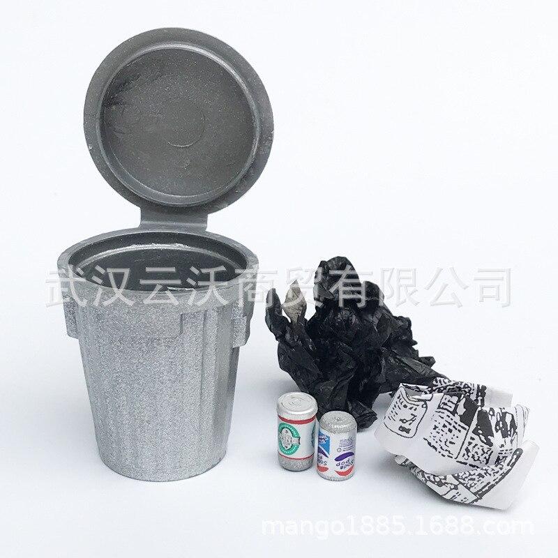 1: 12 Dollhouse Mini Model Scene Toy Props Silver Garbage Can Varia Bucket Versatile