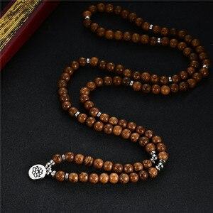 Image 5 - 数珠ブレスレット 108 チベット仏教ロザリオチャームマラ瞑想フラワー · オブ · ライフラッキーウェンジ木製のブレスレット女性男性