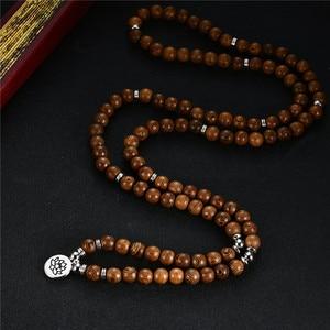 Image 5 - Tespihler bilezik 108 tibet budist tespih Charm Mala meditasyon çiçek şanslı Wenge ahşap bilezik kadın erkek