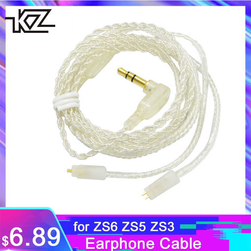 Original KZ ZS6 ZS5 ZS3 ZST ED12 ES3 Earphone Upgraded Plated Silver Cable 0.75mm 2Pin HIFI Dedicated Cable Replacement Cables image