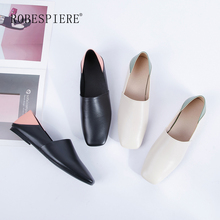 ROBESPIERE Hot Women Casual Flats 2019 New Mixed Colors Lady Boat Shoes Top Quality Genuine Leather Low Heels Slip-On Flats A71 robespiere women pointed toe flats natural leather mixed colors ladies boat shoes 2019 autumn new slip on large size shoes a103