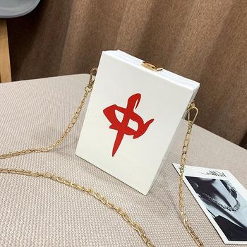 Młode kobiety torba na ramię osobowość w stylu chińskim mała torba kwadratowa moda metalowy łańcuszek torba prosta torebka damska tanie i dobre opinie CORUSCATE Skórzane teczki CN (pochodzenie) Skóra syntetyczna WOMEN litera Versatile Kieszonka na telefo Wewnętrzna kieszeń na zamek błyskawiczny