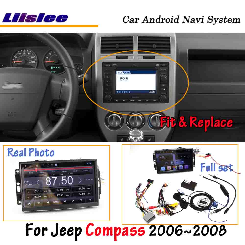 Liislee <font><b>Android</b></font> <font><b>8.0</b></font> For Jeep Compass 2006~2007 <font><b>Car</b></font> <font><b>Stereo</b></font> Radio BT Carplay Screen Video GPS Navigation Multimedia No DVD Player image